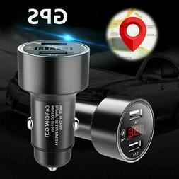 Dual USB 3.1A Car Charger Adapter Voltmeter LED Display GPS